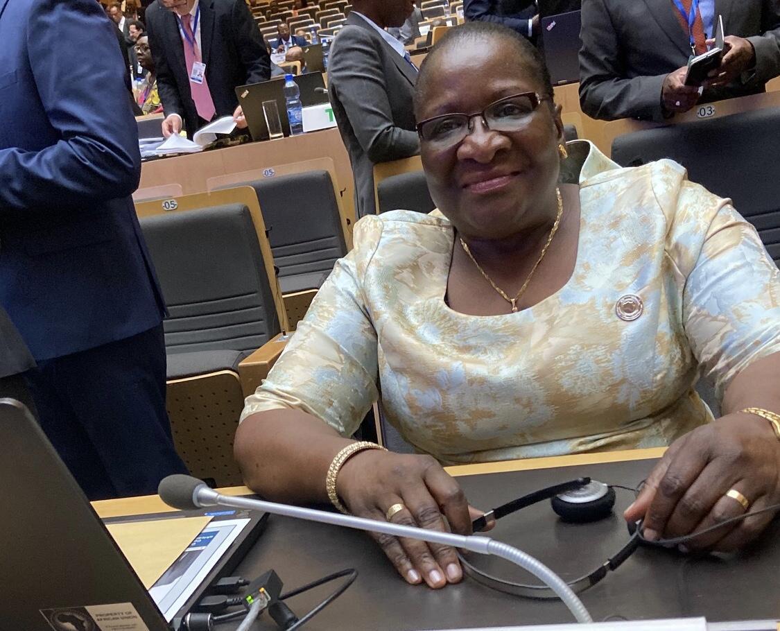 Verónica Macamo, chefe da diplomacia moçambicana. Imagem de arquivo, em Addis Abeba, 6 de Fevereiro de 2020.