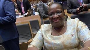 Verónica Macamo, chefe da diplomacia moçambicana, no Conselho Executivo da União Africana em Addis Abeba a 6 de Fevereiro de 2020