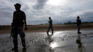 缅甸若开邦边境哨所2017年7月13日