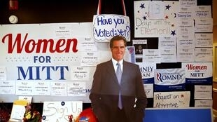 A cardboard cut-out of candidate Mitt Romney at the Republican Headquarters in Charlotte, North Carolina