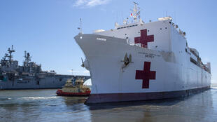The 894-foot USNS Mercy hospital ship, a converted oil tanker, has 15 patient wards and blood bank capacity of 5,000 units