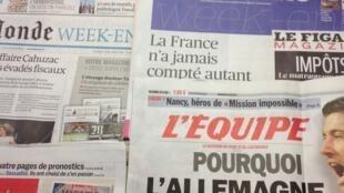 Primeiras páginas dos diários franceses de dia 26/04/2013