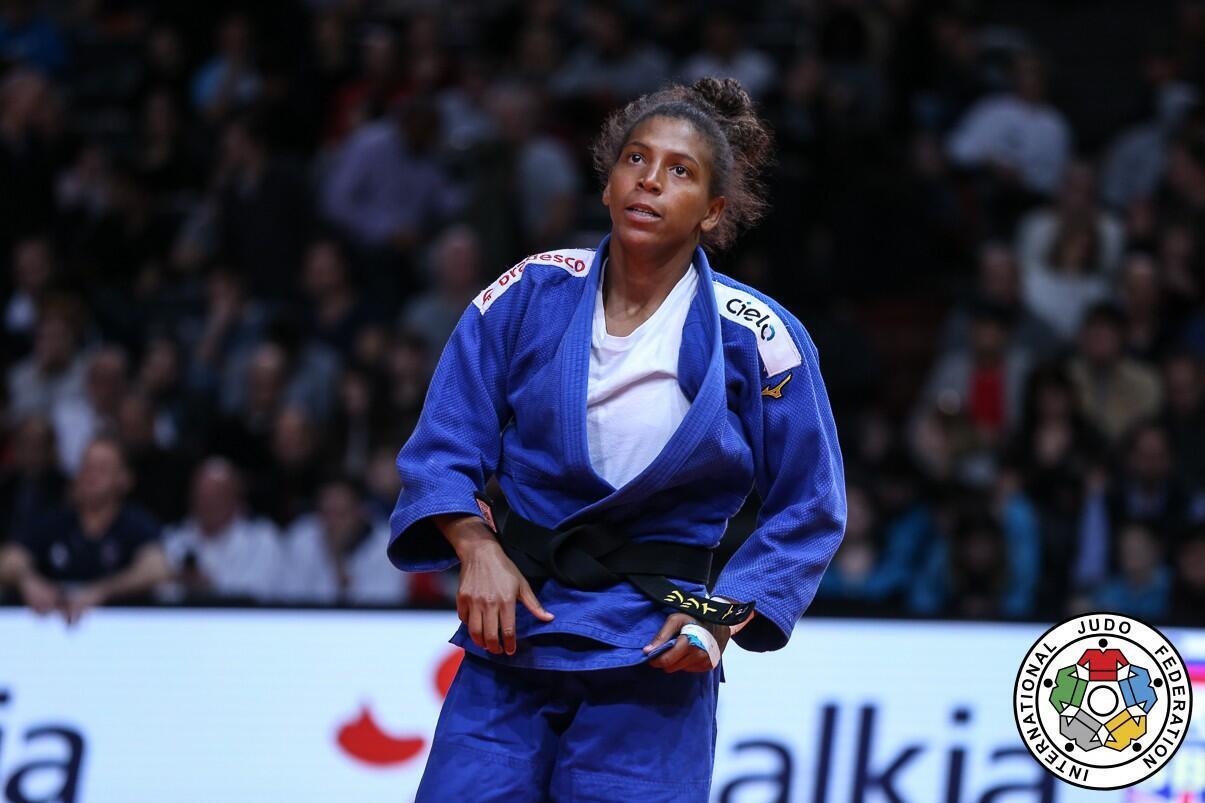A judoca Rafaela Silva no Grand Slam de Judô de Paris. 09/02/19