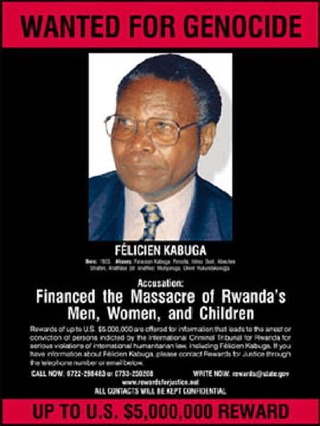 US authorities had put a 5$ million bounty on Felicien Kabuga's head and worked with Kenyan authorities in 2003 to arrest him in that country.