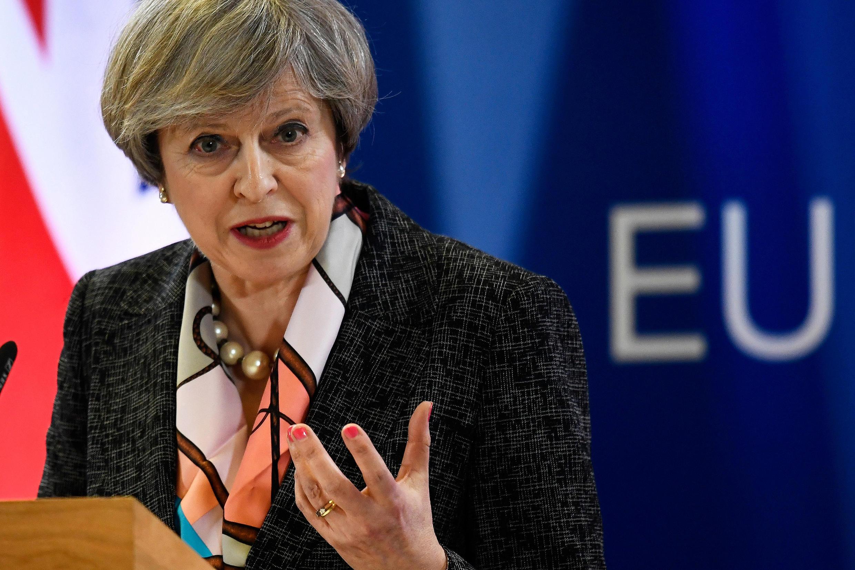 Theresa May, en conférence de presse à Bruxelles, le 9 mars 2017.