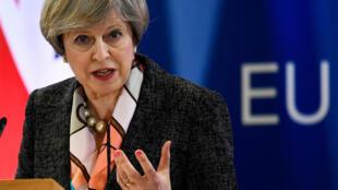 Theresa May, à Bruxelles, au Sommet de l'Union européenne, le 9 mars 2017.