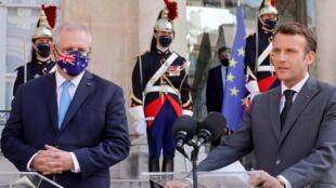 澳大利亚总理莫里森与法国总统马克龙资料图片