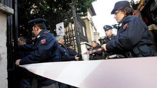 Police arrive at the Chilean embassy in Rome