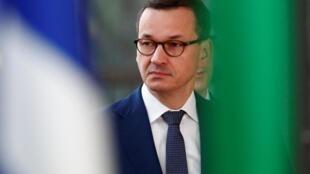Le Premier ministre polonais Mateusz Morawiecki, avant une réunion à Bruxelles avec d'autres leaders européens, le 2 juillet 2019.