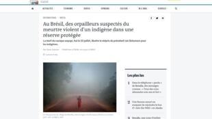 Site do jornal Le Monde sobre o crime contra o índio Wayãpi no Brasil