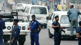 Police congolaise, déployée à Kinshasa.