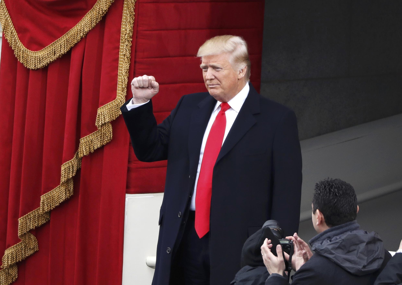 Donald Trump à son arrivée au Capitole pour la cérémonie d'investiture, le 20 janvier 2017.