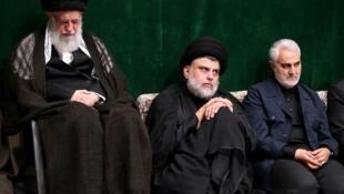 قاسم سلیمانی، مقتدی صدر و ایتالله خامنهای در مراسم شام غریبان
