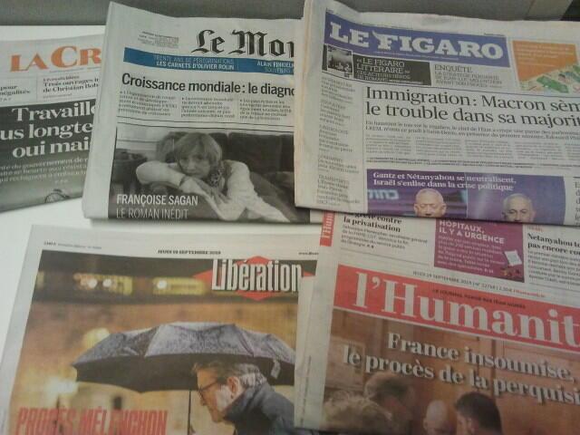 Primeiras páginas dos jornais franceses 19 de setembro de 2019