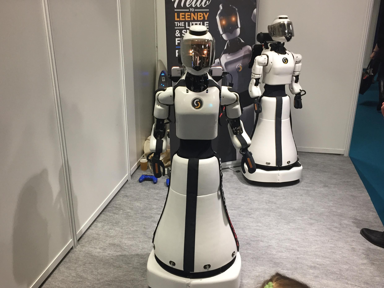 Robot dịch vụ của công ty Cyberdroid tại Triển làm Hàng sản xuất tại Pháp 2018.