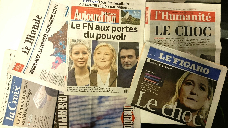 Regionais dominam capas dos jornais franceses de 7/12/15
