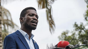 Bobi Wine, pictured last Friday at a press conference at his home in Magere, on the outskirts of Kampala