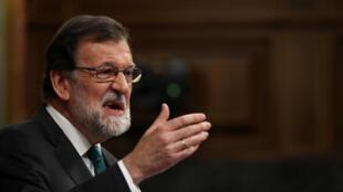 O primeiro ministro espanhol Mariano Rajoy durante o debate sobre a moção de censura no Parlamento, em Madrid a 31 de Maio de 2018.