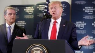 Tổng thống Mỹ Donald Trump phát biểu tại diễn đàn Davos, Thụy Sĩ, ngày 22/01/2020.