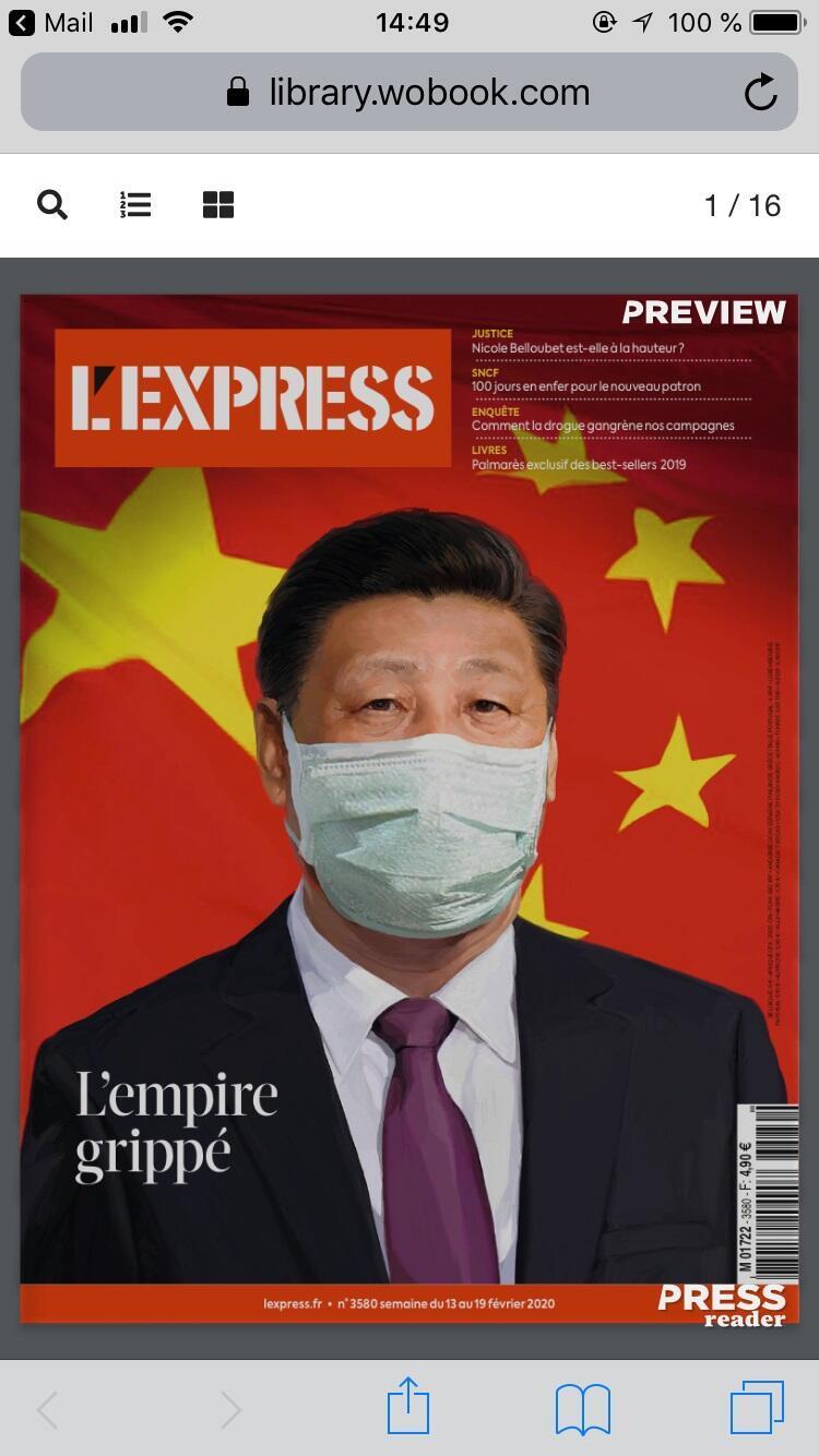 Chủ tịch Trung Quốc Tập Cận Bình trên trang bìa tạp chí L'Express tuần lễ từ 14 đến 21/02/2020 (Capture d'écran).