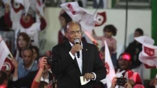 L'actuel président tunisien Moncef Marzouki lors d'un meeting à Tunis, le 21 novembre.
