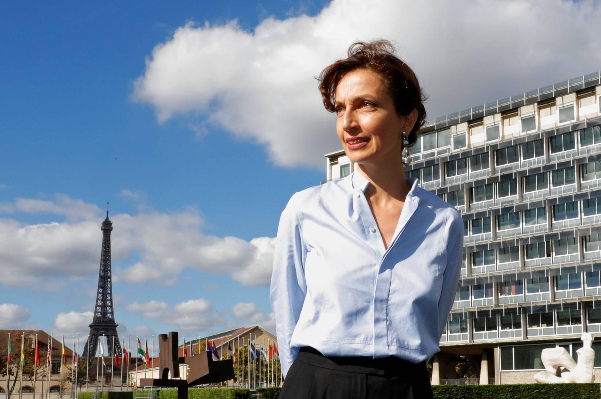 Audrey Azoulay, posando en la sede de la UNESCO, en París, un poco antes de la elección definitiva.