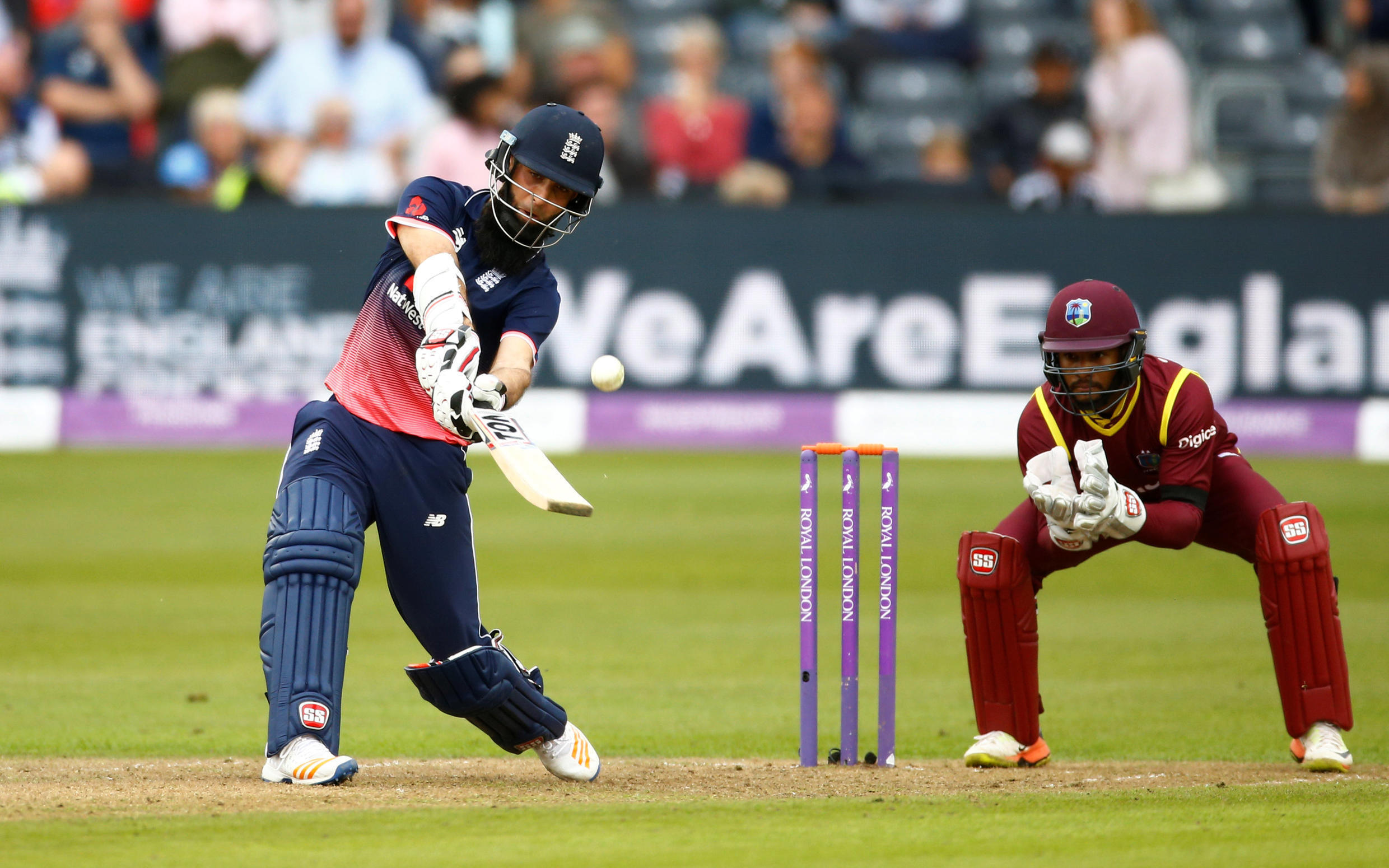 England's Moeen Ali in action against the West Indies.