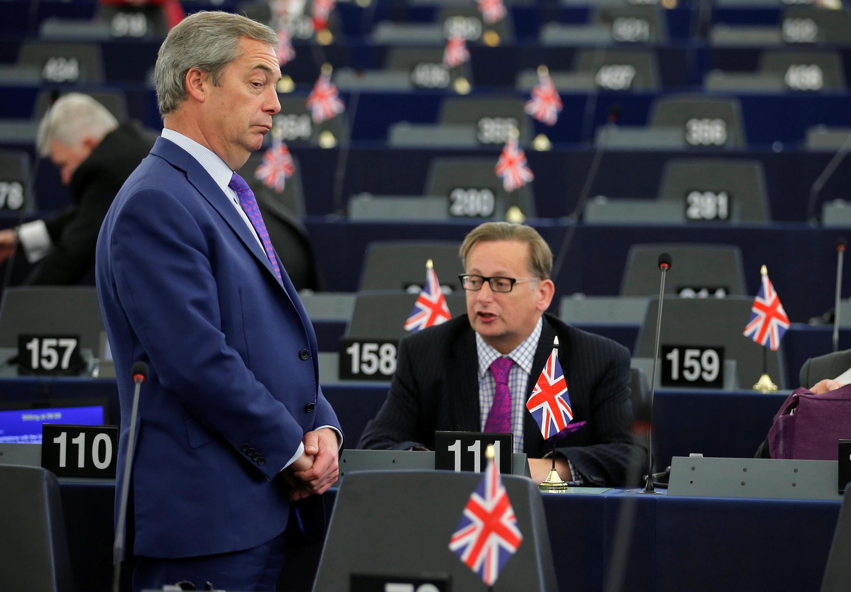 Nigel Farage, du parti britannique eurosceptique Ukip, peu avant le débat au Parlement européen ce mercredi 5 avril 207.