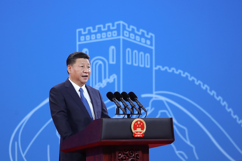 Chủ tịch Trung Quốc Tập Cận Bình phát biểu tại hội nghị INTERPOL lần thứ 86, Bắc Kinh. Ảnh ngày 26/09/2017.