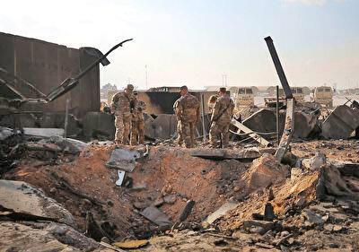 پایگاه عینالاسد در استان الانبار عراق، پس از حملات موشکی ایران