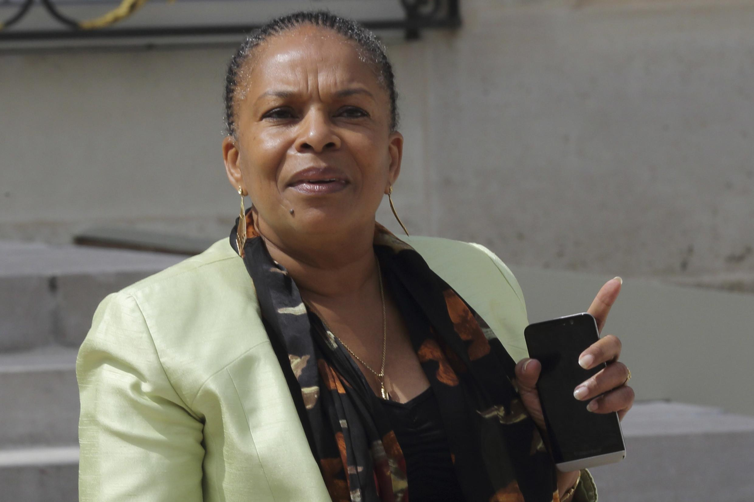 French Justice Minister Christiane Taubira going to a cabinet meeting