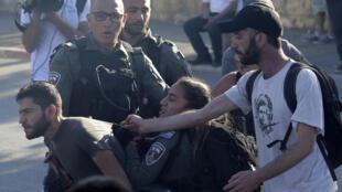 Jérusalem-Est - Cheikh Jarrah - Manifestation - Forces de l'ordre - AP21134620775281
