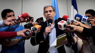 Guillermo Fernández Maldonado, coordinador de la misión del ACNUDH en Nicaragua, habla durante una conferencia de prensa, este 31 de agosto de 2018.