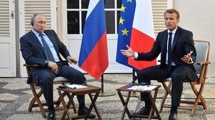 Russian president Vladamir Putin is hosted by his French counterpart Emmanuel Macron at Bregancon fortress on France's southern coast on Monday 19 August, 2019.