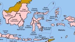 Sulawesi, between Borneo (Kalimantan) and Maluku