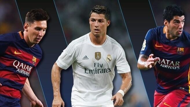 Lionel Messi da Luis Suárez na Barcelona da Dan wasan Real Madrid Cristiano Ronaldo