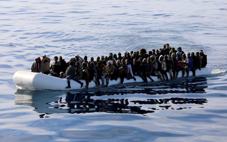 Di dân được tuần duyên Libya cứu vớt trên Địa Trung Hải. Ảnh chụp ngày 15/01/2018.
