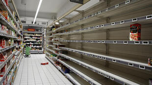 Empty supermarkets in France mid March due to panic buying