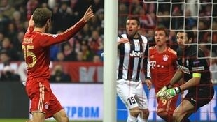 Bayern Munich Striker Thomas Mueller score second goal against Juventus