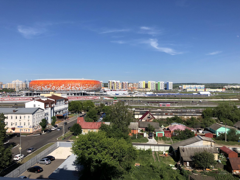 Вид на стадион «Мордовия-Арена». Саранск, Мордовия. 2018 г.