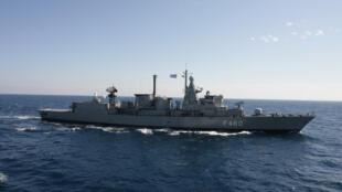 Le navire de guerre grec Aegean, le 17 février 2007 au large du Liban.