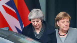 La Première ministre britannique Theresa May s'est rendue à Berlin rencontrer la chancelière Angela Merkel à la recherche de concessions sur l'accord de Brexit, le 11 décembre 2018.itte la