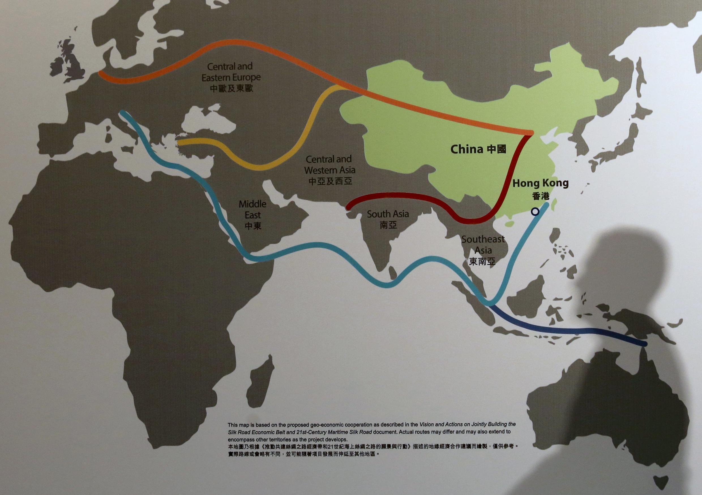 2016年1月,香港某亞洲金融論壇會議上展示的中國一帶一路計畫路線圖。