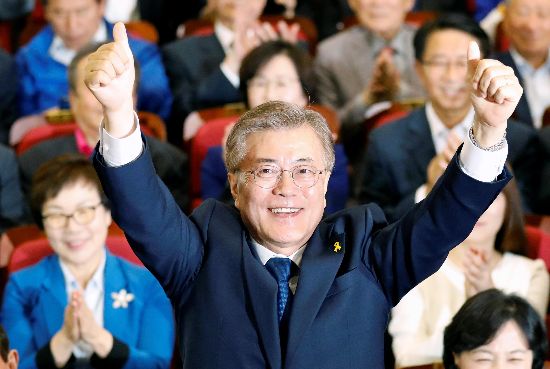 Moon Jae-In, candidato do Partido Democrático, de centro-esquerda, vence a eleição presidencial na Coreia do Sul, nesta terça-feira 9 de maio de 2017.