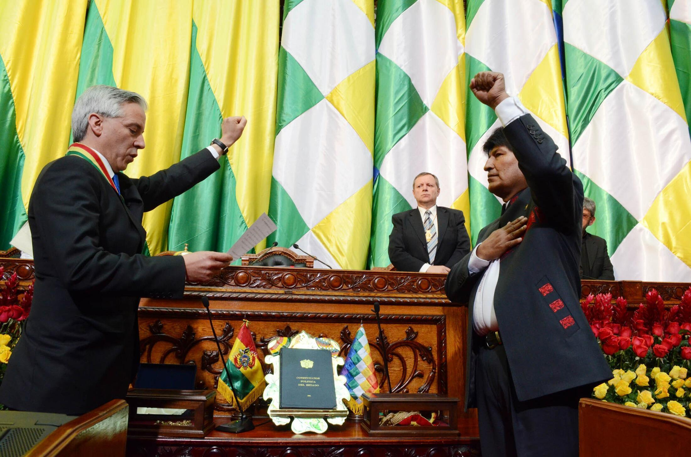 Evo Morales, jurando su tercer mandato como presidente de Bolivia