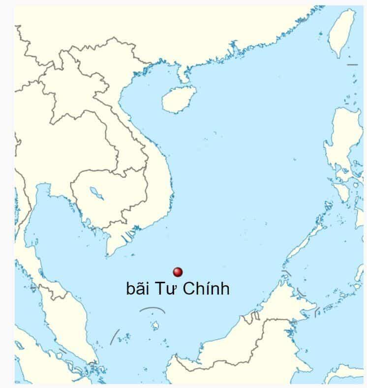 Vị trí bãi Tư Chính, ở Biển Đông