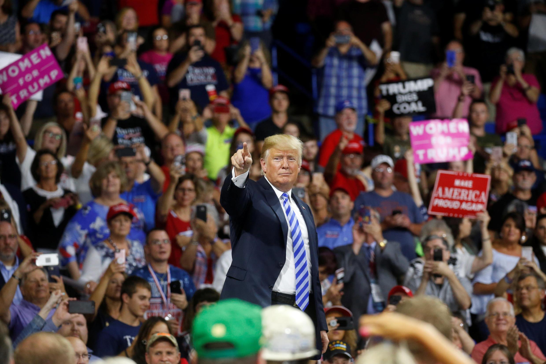 Lors d'un meeting en Virginie occidentale, le président Trump s'en est pris à l'une de ses cibles favorites : les immigrés clandestins, le 22 août 2018.