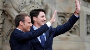 امانوئل ماکرون رئیس جمهوری فرانسه و جاستین ترودو نخست وزیر کانادا ششم ژوئن در اوتاوا