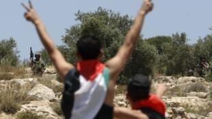 Manifestantes pro palestinos en los Altos del Golán
