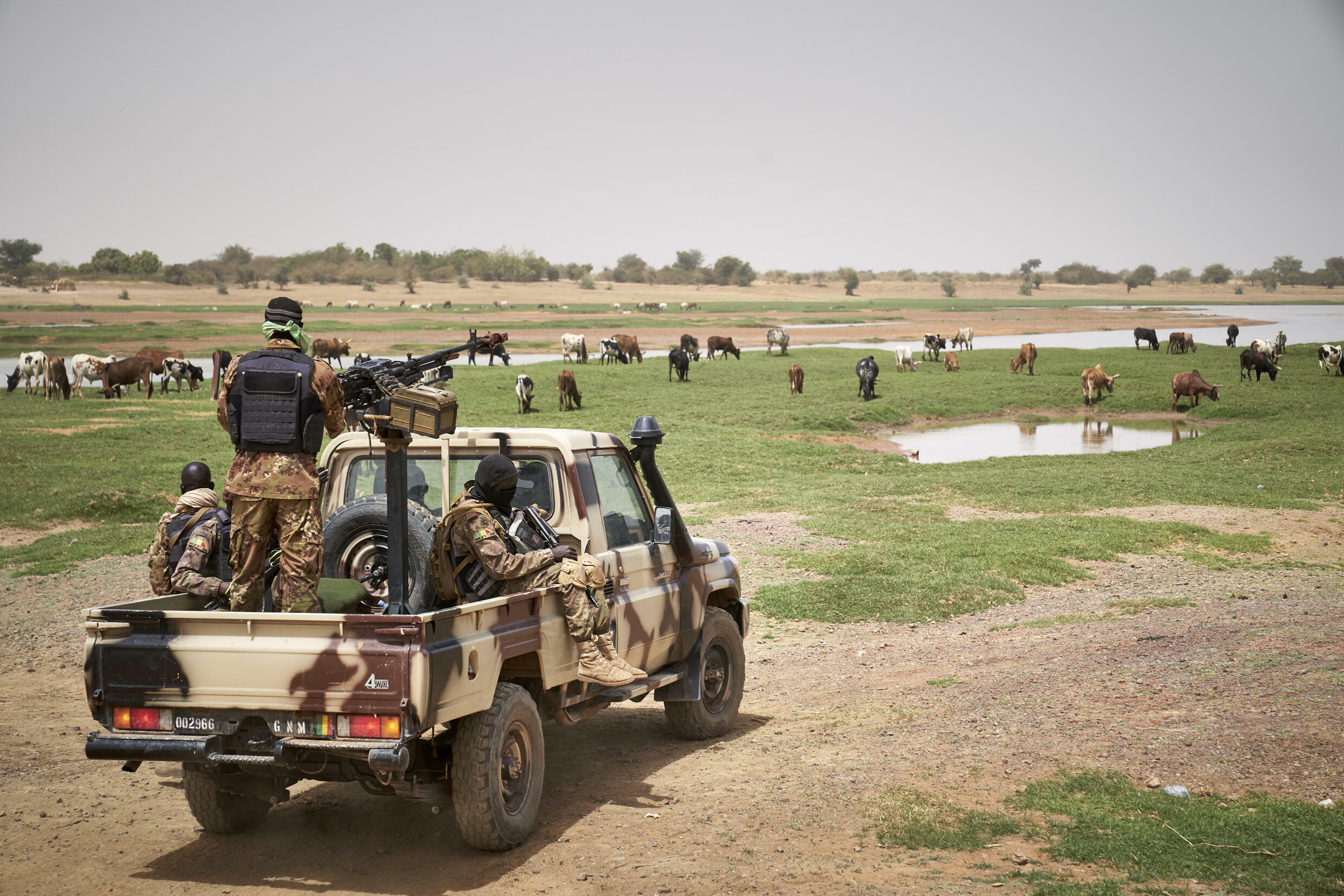 Malian soldiers on patrol. Malihas been struggling to contain an Islamist insurgency that first broke out in the north of the country in 2012 before spreading to the centre and neighbouring Burkina Faso and Niger